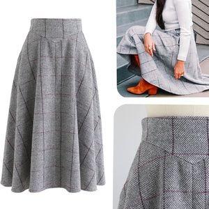 "CHICWISH // ""Love of My Life"" grey grid midi skirt"